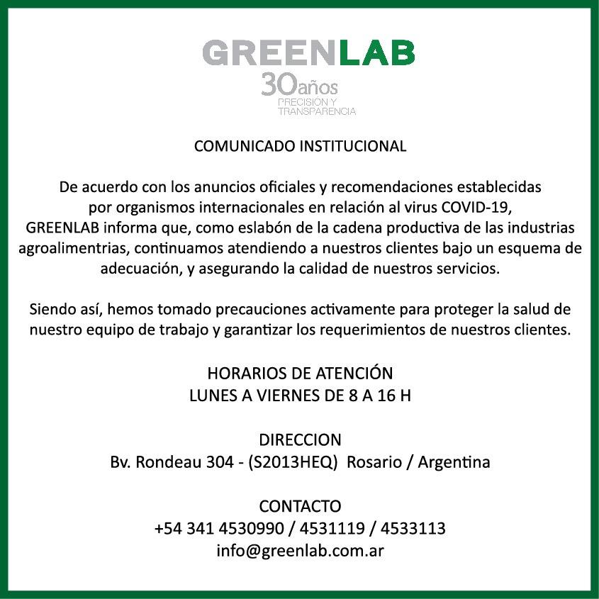 Comunicado institucional de GREENLAB